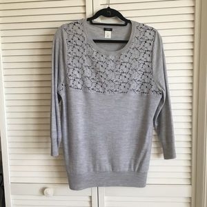 J. Crew 3/4 sleeve lace pullover sweater